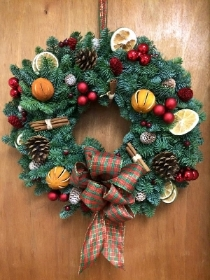 Fresh Pine Door Wreath